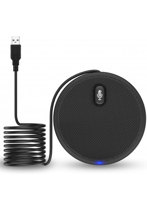 USB Conference Microphone,XIIVIO 360 Omnidirectional Condenser PC Microphones with Mute Plug and Play Compatible with Mac OS X Windows for Video Conference,Gaming,Chatting,Skype