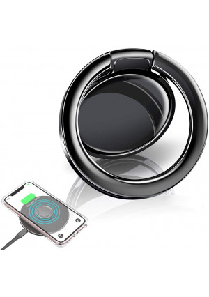 eSamcore Phone Ring Holder  Wireless Charger Friendly Ceramic Finger Ring Holder Kickstand [Anti-Scratch] [3mm Ultra-Thin] Compatible with All Wireless Charging Cell Phone [Black]