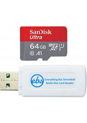 SanDisk 64GB MicroSD Ultra Memory Card Works with LG G6, LG V30, Q6, G5, G4, LG Tribute HD, K40, Phoenix 4 Cell Phone (SDSQUAR-064G-GN6MN) Bundle with (1) Everything But Stromboli Micro Card Reader