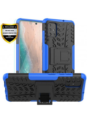 PUSHIMEI Galaxy A51 Case,Samsung A51 Case with HD Screen Protector, with Kickstand Hard PC Back Cover Soft TPU Dual Layer Protection Phone Stand Case Cover for Samsung Galaxy A51(Blue Kickstand case)