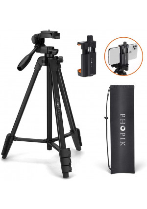 PHOPIK Lightweight Phone Tripod 55-Inch, Video Tripod with 360 Panorama and 1/4 Mounting Screw for Mirrorless/Gopro/DSLR Camera, Phone Holder for Smartphone, Max Load 6.6 Lbs, Carry Bag Inclued.