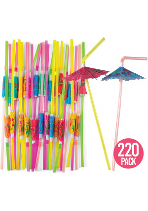 Prextex 220 Umbrella Drinking Straws - Bulk Pack of 220 Assorted Color Bendable Party Straws with Parasol Detail for Party Drinkware and Decoration