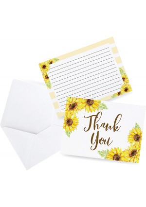 Sunflower Thank You Cards, Great for Baby Wedding Bridal Shower, Birthday, Baptism, Any Occasion, 50 Thank You Cards and Envelopes