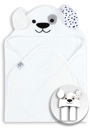 Spotted Play Bamboo Baby Bath Towels, Better Than Cotton - Super Soft, Absorbent Knit Terry, Super Soft Hooded Newbron Towel, Suitable as Baby Gifts, 30 x 30 Inch - White