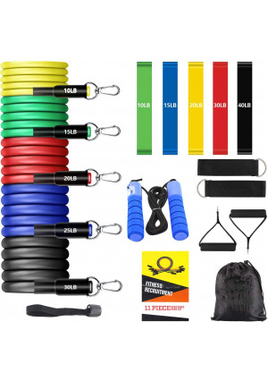 17PCS Resistance Bands Set Workout Bands for Men and Women, 5 Resistance Loop Bands, 5 Stackable Exercise Bands with Handles, Door Anchor, Ankle Straps, Jump Rope (Warm-up) for Fitness Training, Yoga