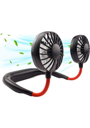 Neck Portable Fan, Hand Free Personal Mini Fans USB Rechargeable,360 Degree Free Rotation for Traveling, Sports, Office, Reading (3 Speed Adjustable, Headphone Design) Wearable Neckband Cooler (Black)