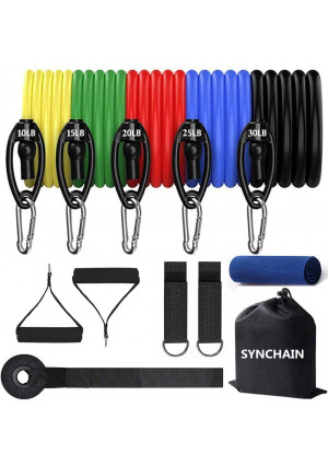 Synchain Resistance Bands Set, Resistance Exercise Bands with Door Anchor, Handles, Carry Bag, Legs Ankle Straps for Resistance Training, Workouts, Butt Training Fitness