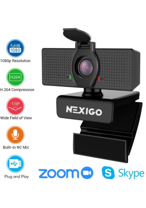 2020 1080P Webcam with Microphone and Privacy Cover - NexiGo 110-degree Wide Angle Widescreen USB HD Camera, Plug and Play, Laptop Computer Web Cam for Zoom YouTube Skype FaceTime Hangout OBS