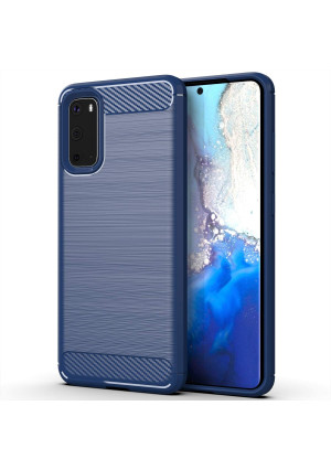 LuckyMi Case for Samsung Galaxy S20 Phone,Galaxy S20 case,TPU Shock Absorption Technology Full Protective Case Carbon Fiber Cover for Galaxy S20 Smartphone (Blue)