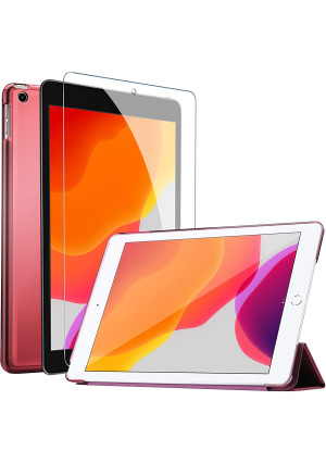 ProCase iPad 7th Generation Case iPad 10.2 Case 2019 with Tempered Glass Screen Protector, Slim Stand Hard Shell Protective Smart Cover for 7th Gen iPad 10.2 Inch 2019 (A2197 A2198 A2200) Wine