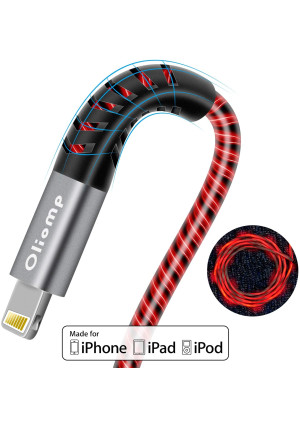 iPhone Charger Cable, 6FT LED Lightning Cable [Apple MFi Certified ] USB Fast Charging/Sync Cord Compatible with iPhone SE 11 11 Pro 11 Pro Max Xs MAX XR X 8 7 6S 6 5, iPad and More (Red)