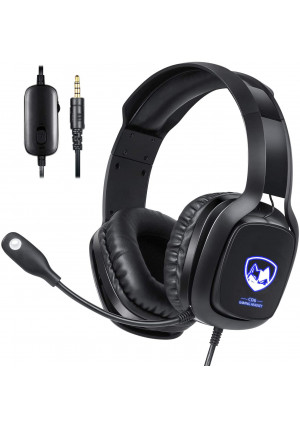Stereo Gaming Headset with Microphone for Xbox One, PS4 and PC, USB Gaming Headphone with 7.1 Surround Sound, LED Light and Noise Canceling Mic, Soft Memory Earmuffs for Nintendo Switch Laptop Mac Games