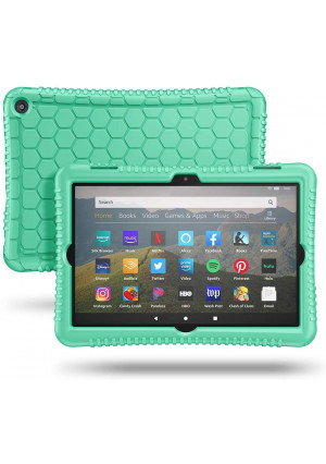 Fintie Silicone Case for All-New Kindle Fire HD 8 Tablet and Fire HD 8 Plus Tablet (10th Generation, 2020 Release) - [Honey Comb Series] [Kids Friendly] Light Weight Shock Proof Back Cover, Green