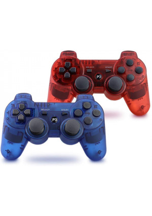 Vinklan PS3 Controller Wireless Double Shock Gamepad for Playstation 3, Six-Axis Wireless PS3 Controller with Charging Cable (Sapphire Blue and Ruby Red)