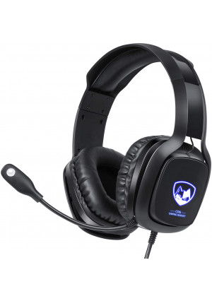 Gaming Headset with Microphone for Xbox One, PS4 and PC, USB Gaming Headset with 7.1 Surround Sound, LED Light and Noise Canceling Mic, Soft Memory Earmuffs for Nintendo Switch Laptop Mac Games
