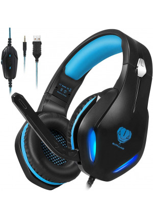 Stynice Gaming Headset for PC, PS4, Xbox One, Laptop, Crystal Clear Surround Sound Computer Gamer Headset with Noise Canceling Mic and LED Light - Lightweight and Comfortable Gaming Headphone (Blue)